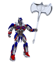 TF4 Optimus Prime with massive axe by RazzieMbessai