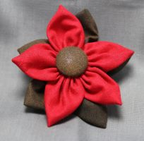 Red Fall Fabric Flower Hair Barrette by jenlucreations