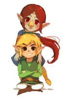 Medli and Link by Aurellien