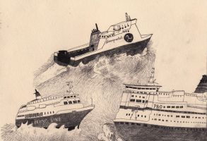 Ferries of Britain unite by drawingsbycharlotte