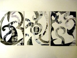 Triptych in Collage by SpiralRaccoon