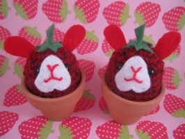Strawberry Bunny Flower Pots by AmiTownCreatures
