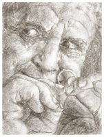 Sketchcard - The Birthday Present (Bilbo Baggins) by Dkelabirath