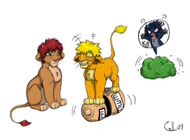 Some GaaNaru lions by Clawshawt
