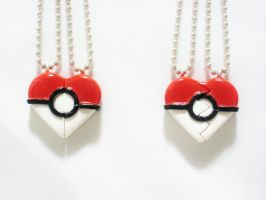 Pokeball Inspired Heart BFF/ Couple's Necklaces by SaphirazlilJewels