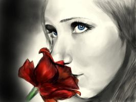 Girl with rose. by h4zel3yes