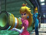 Samus watching Peach using the Cracker Launcher by DarkFalco313