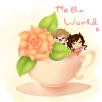 tea rose in a cup icon by QAAAAAAAAAAAAAAAAQ