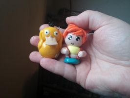 Misty and Psyduck charms (Video Tutorial: Psyduck) by ShadyDarkGirl