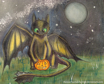 Toothless and a Pumpkin by TheIcecreamAlchemist