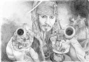 Captain Jack Sparrow and the Black Pearl by bittenbitten