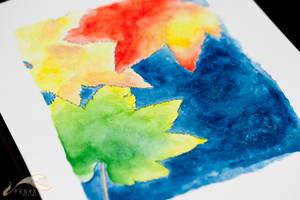 Watercolor: Fall Leaves by elysiagriffin