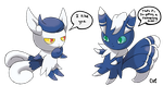 Meowstic and Meowstic by CODE-umb87