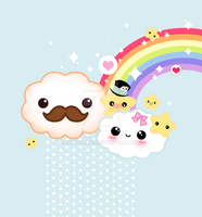 Kawaii clouds and rainbow by BunnyAndI