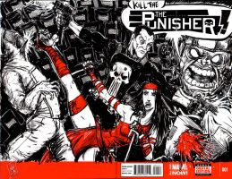 Punisher sketch cover featuring Elektra and MODOK by FWACATA