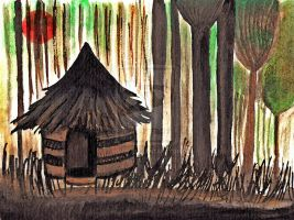 A thatched-roof house- Nais25 by childrensillustrator