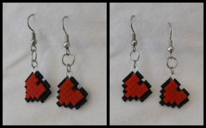 8-Bit Heart Container Earrings by CosmicalFox