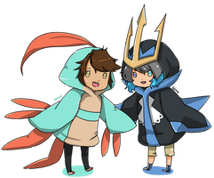 The Shiny Grovyle and The Empoleon by girupon