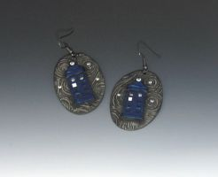 Tumbling Tardis Earrings by Peaceofshine