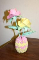 3D Origami Pink + Yellow Roses with Heart Basket by CrystallizedJello