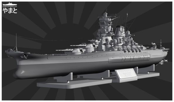 IJN Yamato_front side view by Siregar3D