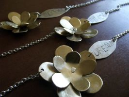 Inspirational Brass Double Flower Necklaces by MoonLitCreations