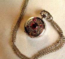 Blood Drop and Shadow - Silver Pocketwatch by LadyPirotessa