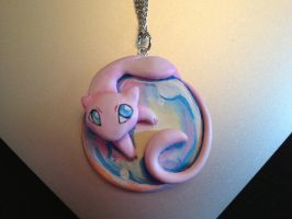 Mew on a Bubble Necklace by Gatobob