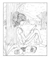 Reading by a Tree with my Maxie - Line Art by ChiisaiKabocha17