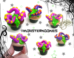 Tentacle Infested Cupcakes by monsterkookies