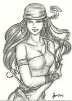 Elektra - Sketch Card by ArtOfRivana