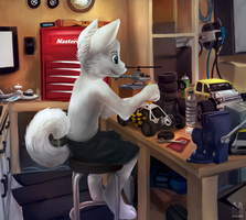 [Commission] Tinkering in shop by thanshuhai