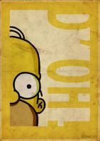 Homer Simpson - Vintage style poster- 3ftdeep by 3ftDeep