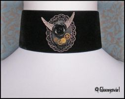 Winged rose choker by Gloomyswirl
