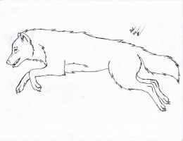 Leaping Wolf Line Art - FREE by The-Bone-Snatcher