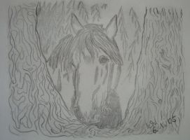 horse on a tree by Zoey-01