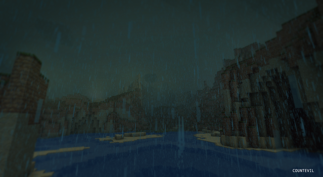 Rain Falls in Minecraft by countevil
