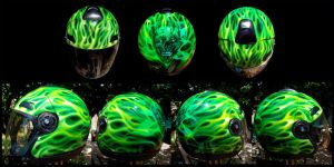 Toxic Green Franky Helmet by hardart-kustoms