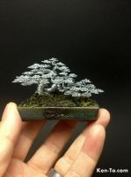 Mame raft style wire bonsai tree by Ken To by KenToArt