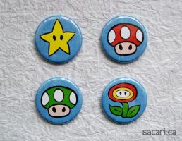 Mario Power-Ups Button Set! by Sacari