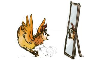 Hen's reflection by tunnelinu
