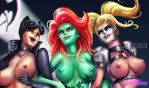 Poison Ivy, Harley Quinn and Catwoman Close up by HentaiChimp