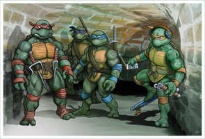 TMNT Group 10 x 15 PRINT by soonergriff