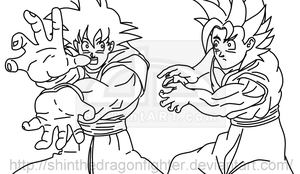 Goku trains Shin Lineart by ShinTheDragonFighter