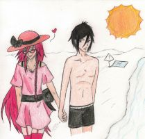 Beach Day - Sebastian and Grelle (coloured) by GrelleSutcliffeDEATH
