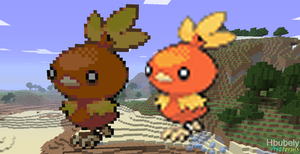 Torchic - Minecraft Art by HbubelyArtForms