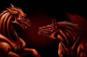 demon dog-dragon creatures by nocturnalMoTH