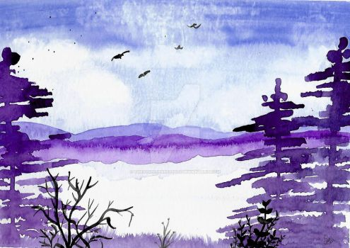 Winter Scene Watercolor Practice by thevoicessneezed23