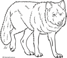 Wolf Line Art FREE by HannahLouLou