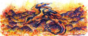 30 Days of Dragons - Day 1: Fire Salamander by SpaceTurtleStudios